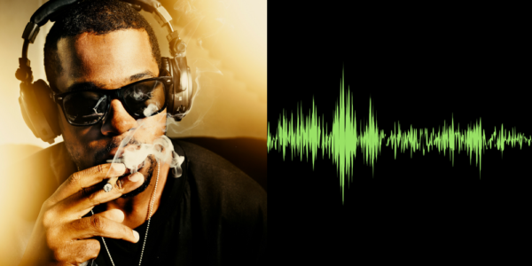 Man smoking a joint with headphones and sunglasses on.