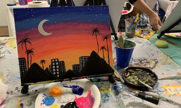 Painting of LA cityscape